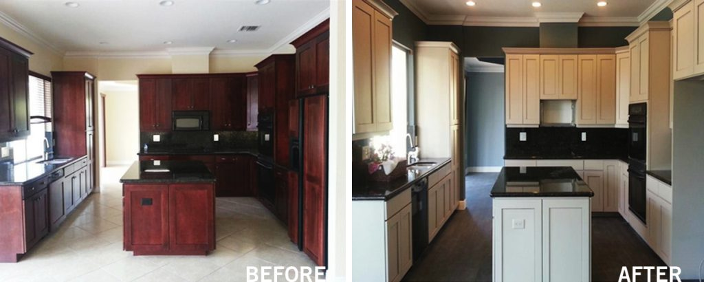before after cabinet refinishing palm springs