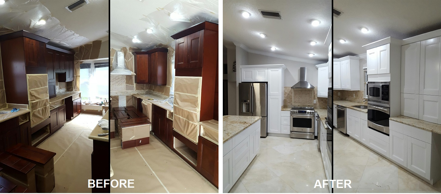 before after tamarac cabinet painting