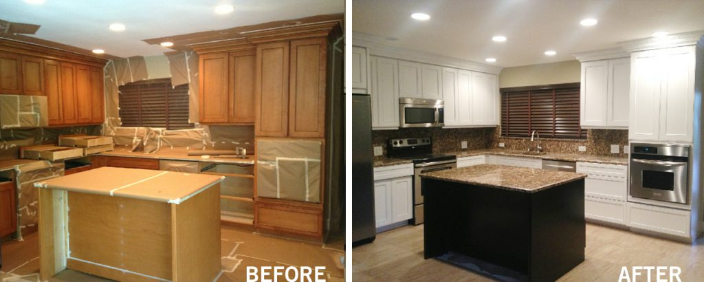before after cabinet refinishing tamarac